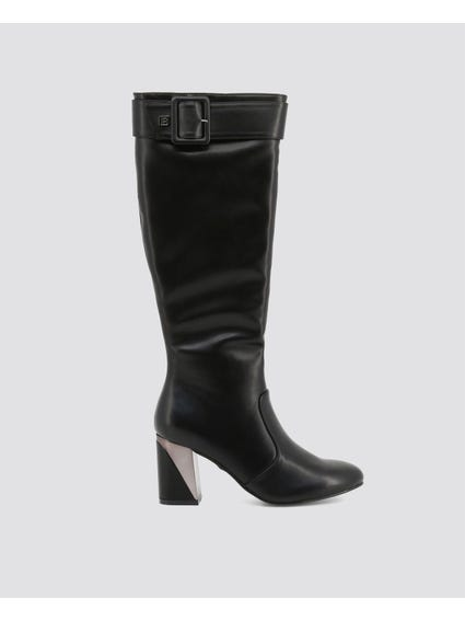 Black Buckle High Knee Boots