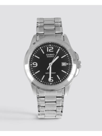 Stainless Steel Black Dial Analog Watch