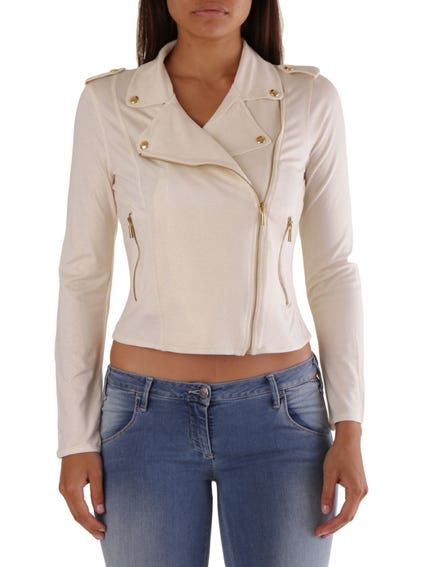 White Collar Neck Zip Crop Sweatshirt