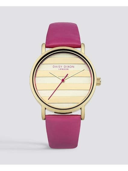 Pink Analog Leather Watch