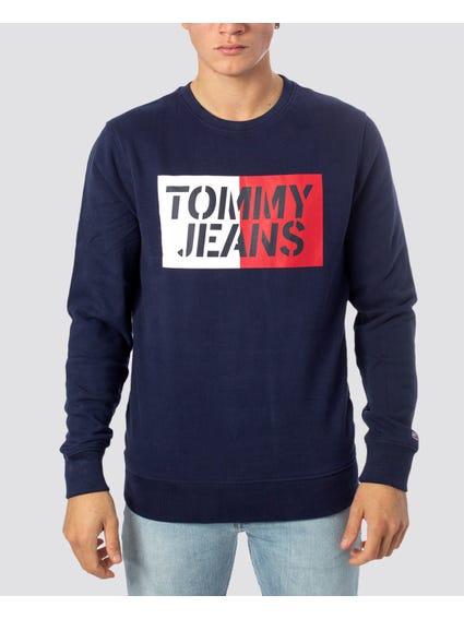 Navy Contrast Chest Print Sweatshirt