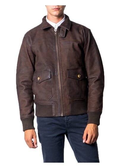 Collar Zip Leather Jacket