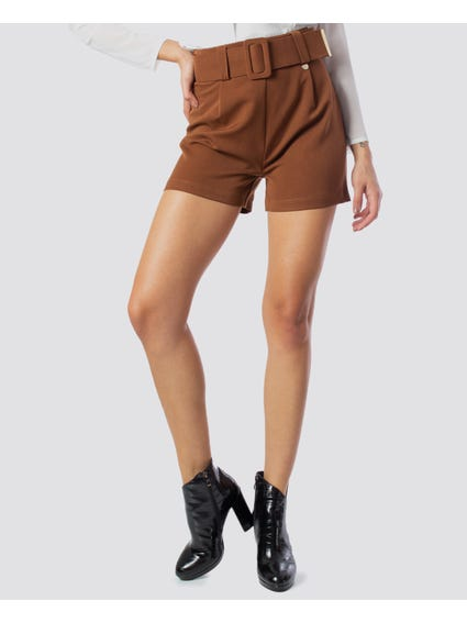 Brown Wide Belt Mini Short