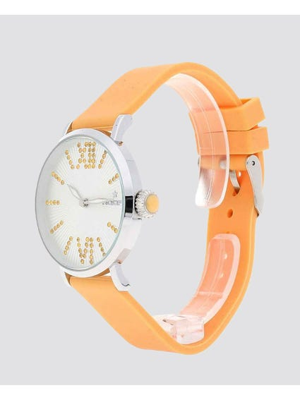 Orange Quartz Silicone Watch