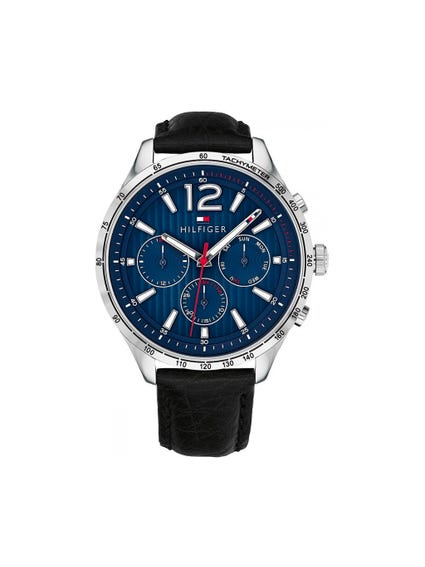 Blue Dial Leather Analog Watch