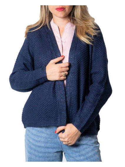 Blue Long Sleeve Knitted Cardigan