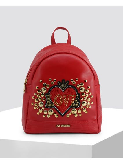 Red Love Studded Backpack