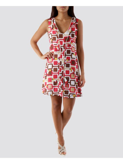 Multi Printed Toucans Dress