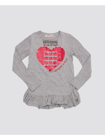 Reversible Sequins Heart Kids Top