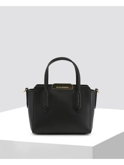 Black Textured Leather Handbag