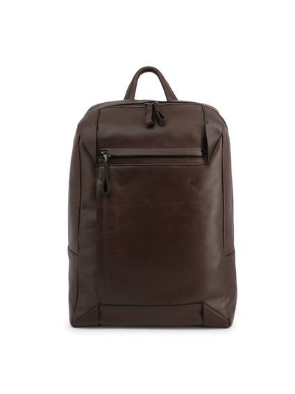 Brown Leather Handle Zipper Pocket Backpack