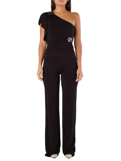 Black One Side Shoulder Jumpsuits