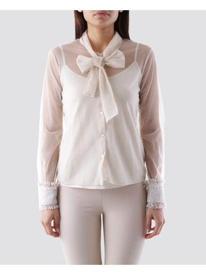 Beige Button Tie Neck Blouse