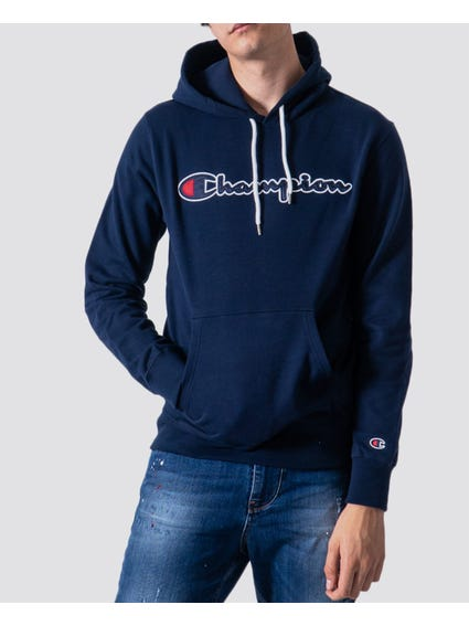 Blue Embroidered Detail Hoodie