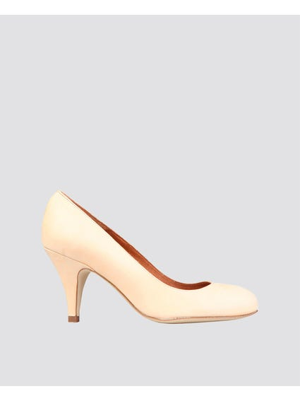 Beige Patent Pointed High Heel Pumps