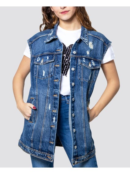 Denim Distressed Sleeveless Jacket
