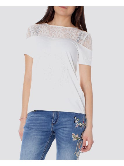 White Lace Shoulder Short Sleeves Top