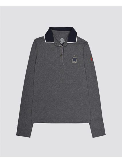 Grey Chest Logo Kids Polo Shirt