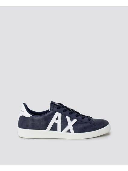 Blue Contrast Initial Leather Sneakers