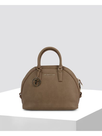 Brown Curve Top Leather Bag