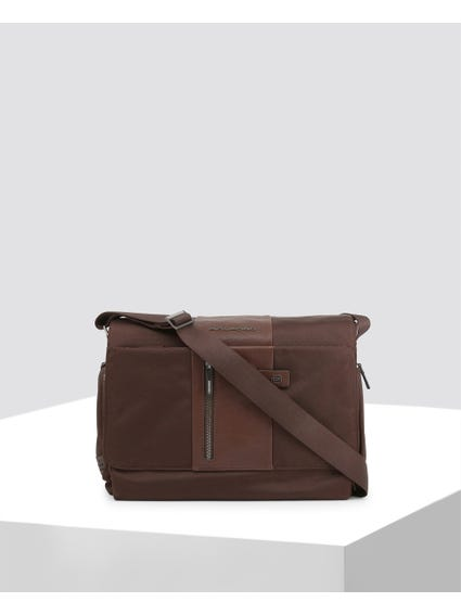 Brown Patterned Leather Crossbody Bag
