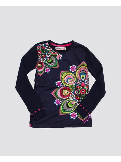Floral Print Long Sleeves Kids Top