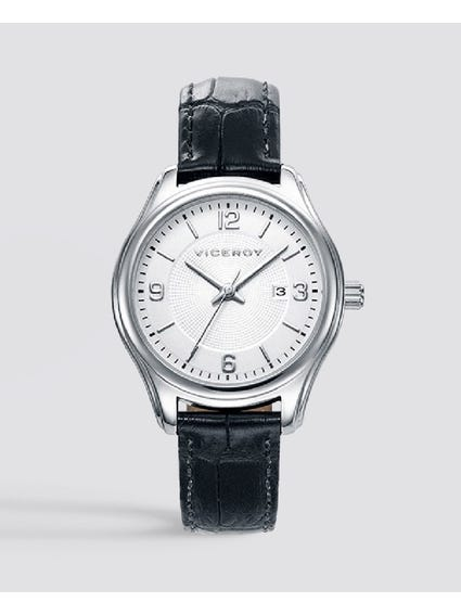 Classic White Dial Leather Watch
