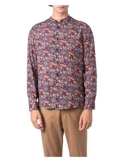Multi Color Mandarin Collar Prined All Over Shirt
