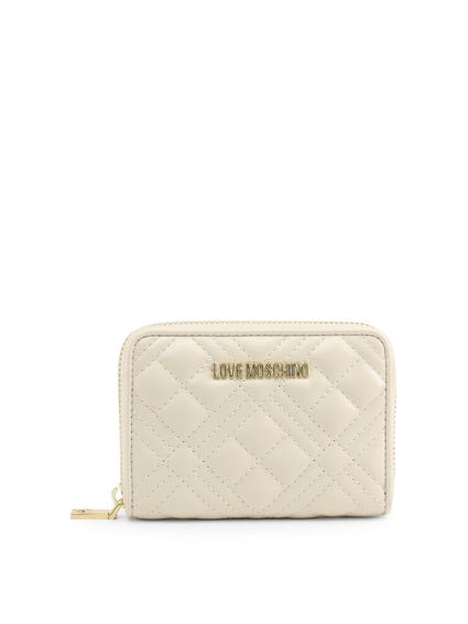 White Zipper Quilted Wallet