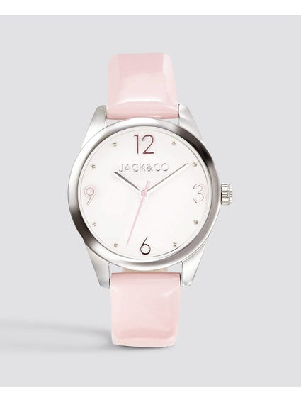 Pink Leather Strap Analog Watch