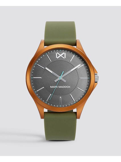 Grey Dial Leather Strap Watch