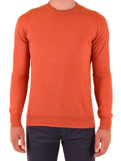 Orange Round Neck Plain Knitwear