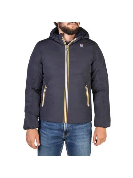 Blue Zipper Pocket Hooded Jacket
