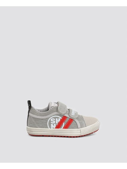 Grey Dual Velcro Kid Sneakers