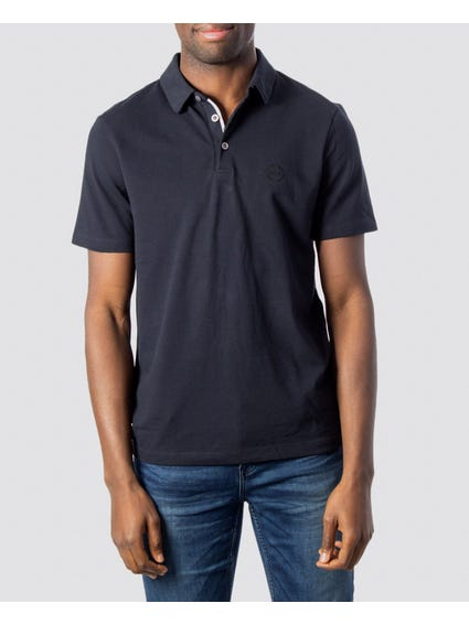 Blue Ribbed Placket Polo