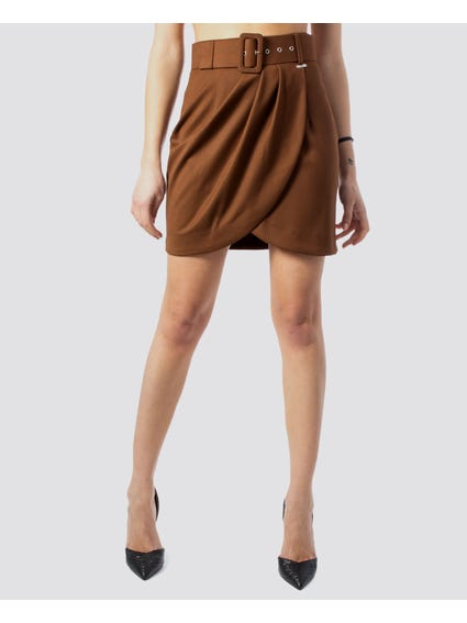 Brown Pin Buckle Wrap Skirt