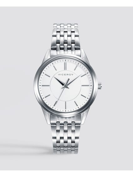 Grand White Dial Stainless Steel Watch