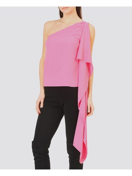 Pink One Shoulder Frill Tops