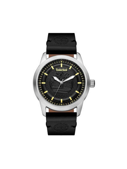 Black Leather Strap Analog Watch