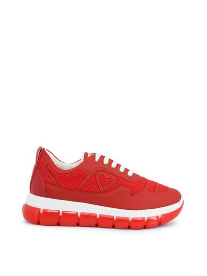 Red Heart Logo Mesh Lace Up Sneakers