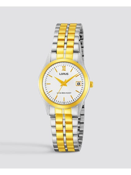 Classic Two Tone Quarts Analog Watch