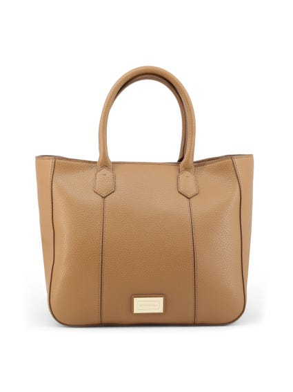Brown Leather Full Zip Shopping Bag