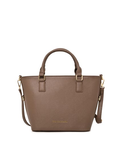 Brown Pattern Strap Leather Hand Bag