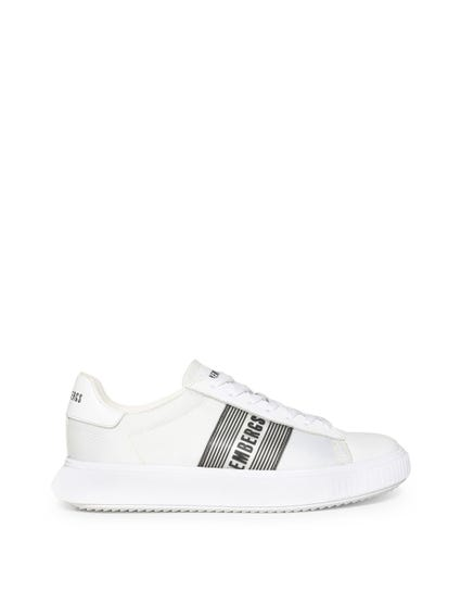 White Printed Mesh Logo Sneakers
