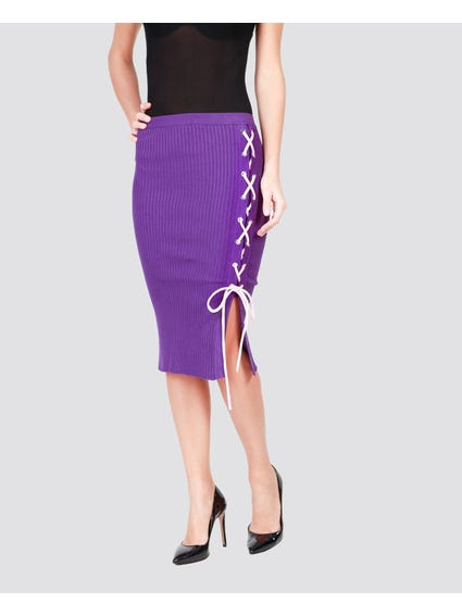 Purple Patterned Lace Knitted Skirt