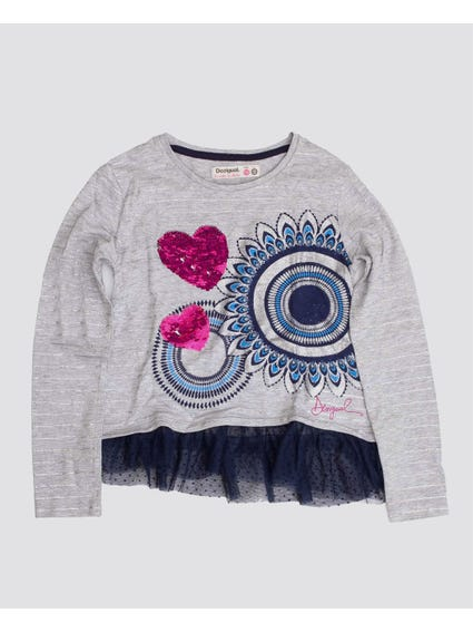 Lace Sequins Crew Neck Kids Top