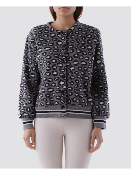 Animal Print Button Closure Jacket