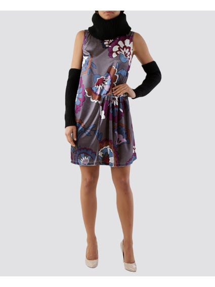 Collar Sleeveless Printed Dress