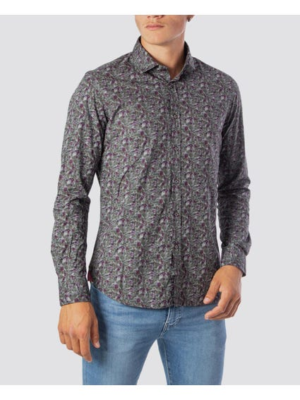 Pattern Button Long Sleeve Shirt