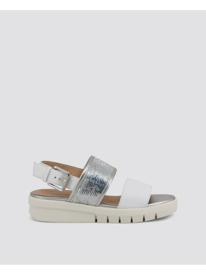 White Wimbley Ankle Strap Sandals